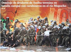 Desalojo de pobladores ANDHA Chile. Foto: Portada Diario La Tercera